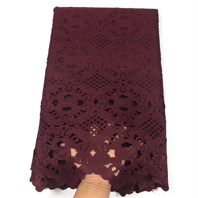 HFX Latest Paper Lace Embroidered Laser Cut Lace Africa Lace High Quality Lace Fabric For Nigeria Wedding  X1066-1