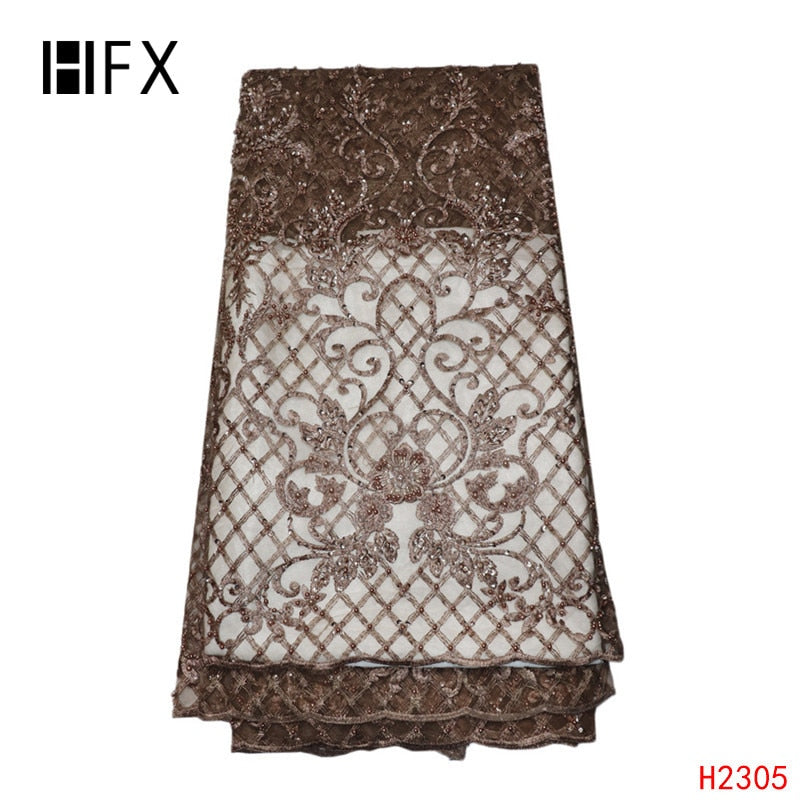 HFX Luxury Handmade Beaded French Lace 2019 African Embroidery Tulle Dress Lace Gold Party Dress Bridal Net Lace Fabric X2305