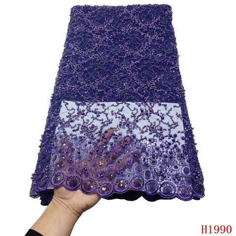 Image of HFX Luxury Sequin Embroidery French Mesh Lace Latest African Laces 2019 Handmade Beaded Onion Dress Tulle Net Lace Fabric X1990