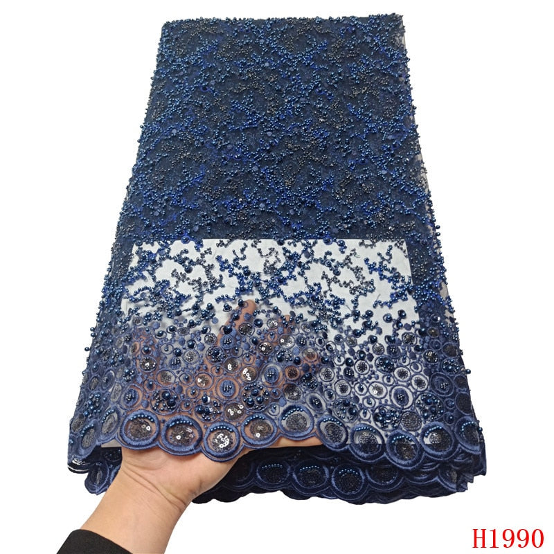 HFX Luxury Sequin Embroidery French Mesh Lace Latest African Laces 2019 Handmade Beaded Onion Dress Tulle Net Lace Fabric X1990