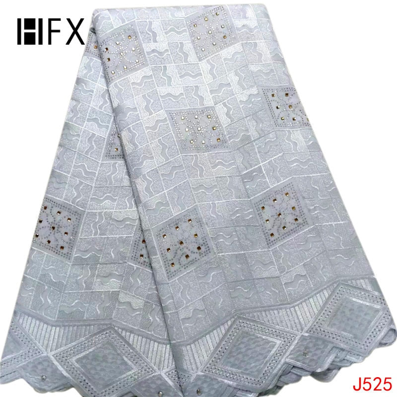 HFX Nigeria Atiku Fabric High Quality Bridal Dress 5 Yards Swiss Voile Lace Fabric 2019 White African Cotton Fabric L525