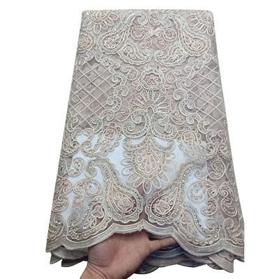 Image of HFX Onion Color African Lace Fabrics Nigerian Embroidered Tulle Fabric For Dress High-end Handmade Beaded French Net Lace H1610