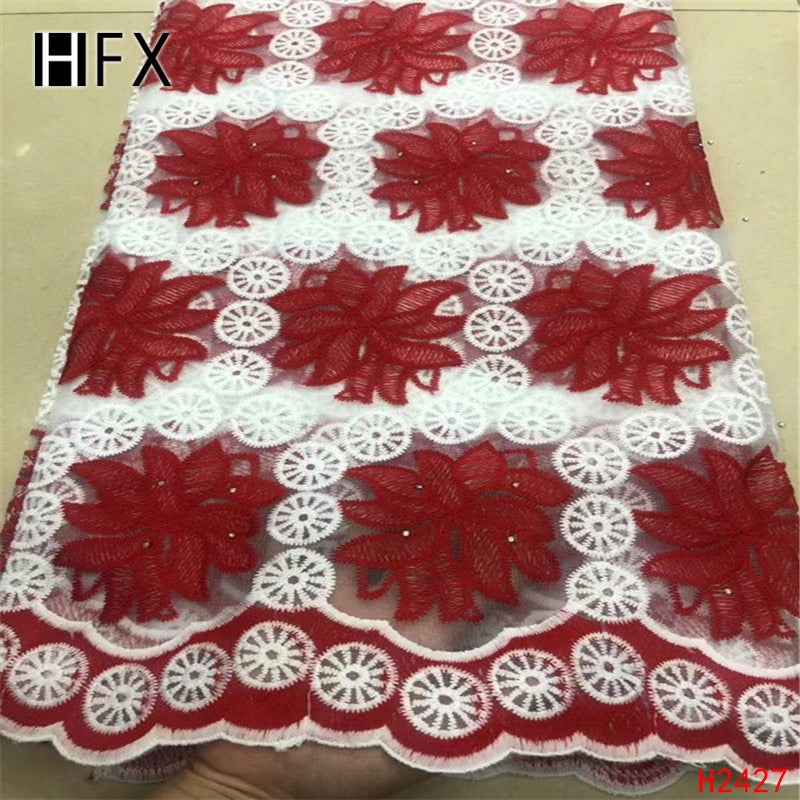 HFX Wine/White Net Lace Embroidery Milk Silk Lace High Quality Nigeria Bridal Dress Tulle Lace 5 Yards French Lace Fabric X2427