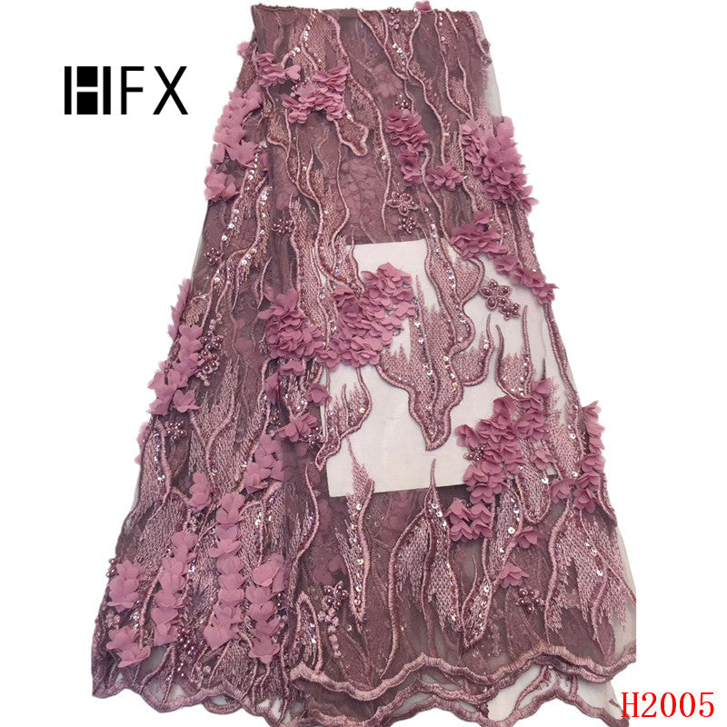 HFX luxury 3d lace fabric Latest Nigerian Beaded Laces 2019 For Wedding pink african guipure lace fabric