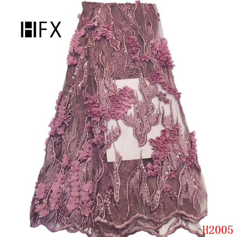 Image of HFX luxury 3d lace fabric Latest Nigerian Beaded Laces 2019 For Wedding pink african guipure lace fabric