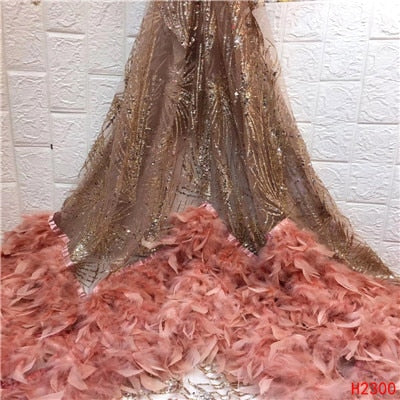 Image of HFX top quality newest fashionable Wedding dress feather embroidery French mesh tulle African lace fabric free shipping H2300