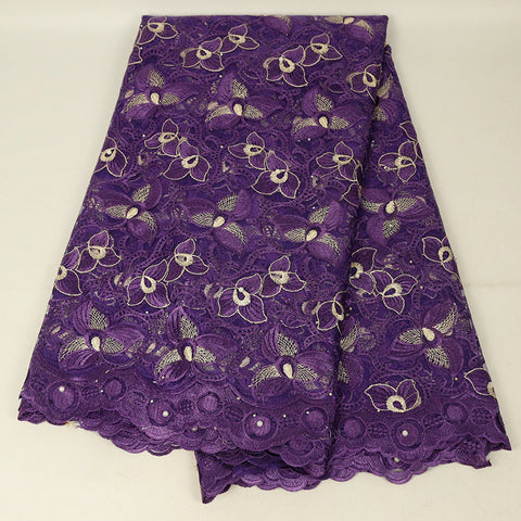 Image of French Nigerian Lace Fabric High Quality Wedding Purple Red Green Embroidery Flower Dress Lace Fabric