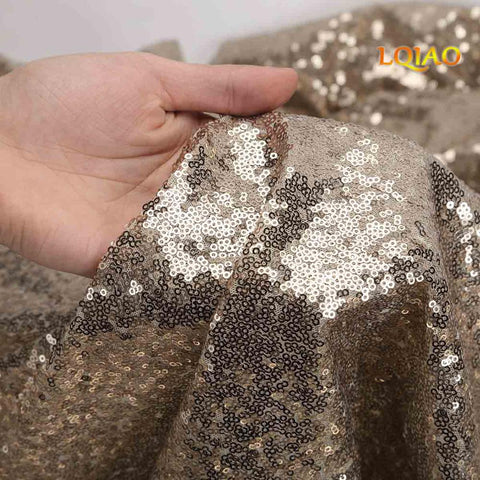 Silver/Rose Gold Sequin Fabric By The Yard Two Way Stretch Spandex Embroidered Mesh African Lace Sequin Fabric for Dress Sewing