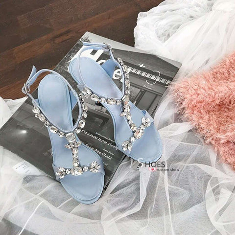 Stiletto High Heel Crystal Embellished Sandals Summer Sexy Open Toe T-strap Formal Dress Shoes Women Party Sandals