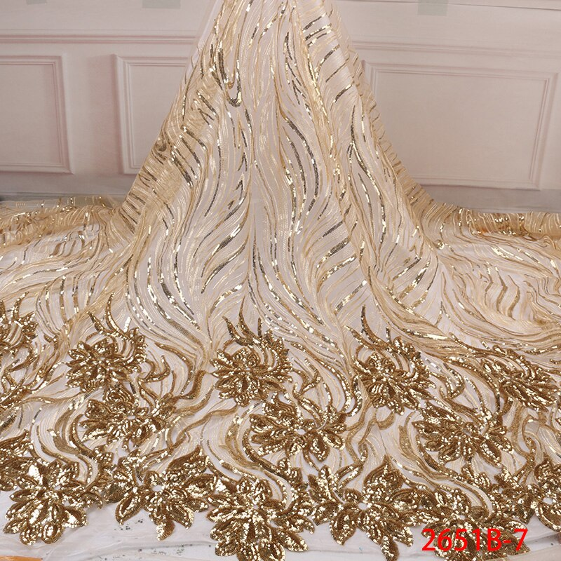 Weeding Sequins Tulle Lace Gold African Lace Fabric High Quality Nigerian French Party lace fabric for tulle lace fabric 2651b