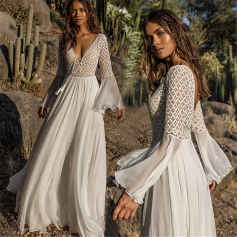 AECU Women Sexy Dress Long Flare Sleeve V Neck White Tassel Hollow Boho Lace Maxi Dress Holiday Chic Autumn Female Dresses