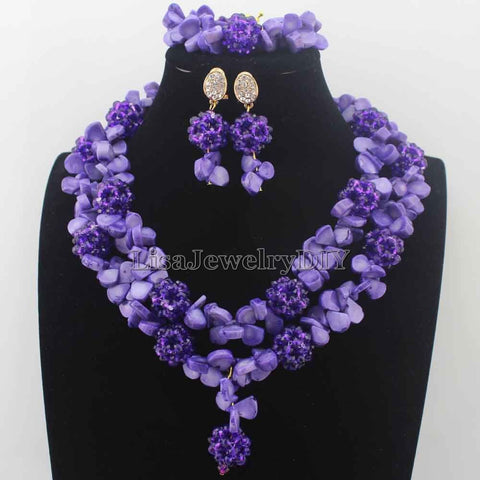 Image of Gorgeous Nigerian Purple Bead Necklaces Wedding Coral Beads Jewelry Set African Beads Jewelry Set for women Free Shipping HD8698