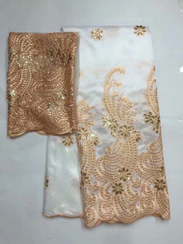 2019 African George Lace Fabric With Blouse Indian Peach French sequin Net Lace Fabric For Nigeria Wedding Dress Silk Lace 5+2