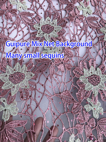 Image of 5 yards African Guipure cord Lace mix net fabric background shiny high quality Nigerian Buba french lace fabric with sequins