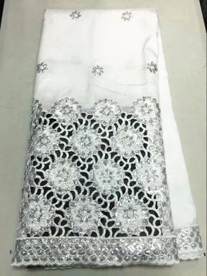 Hot sale white african george lace fabric with silver sequins flower french lace material for party dress OG39-5,5 yards/lot