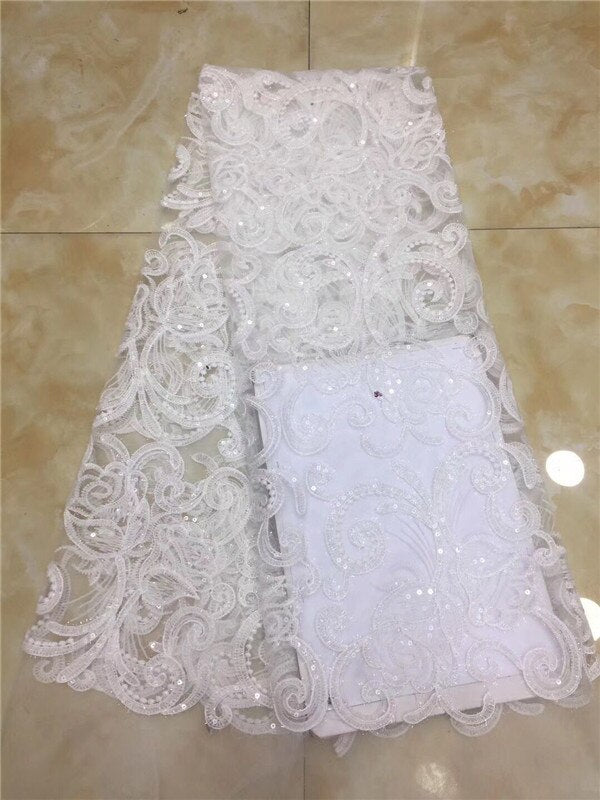 French African Lace Fabric Guipure Sequined Beaded Cotton Cord Tulle Nigerian Tissu Mesh India Lace For Wedding Dress gold green