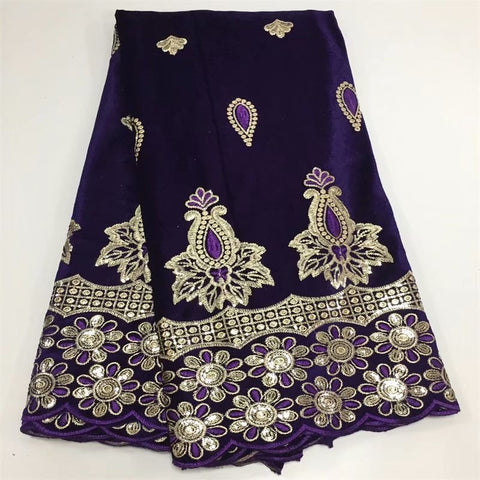 2019 5yards /lot luxury gold sequins trim lace with purple African George flannel lace fabric for party dresses YYZ0628221