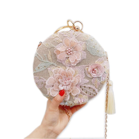 Women Handmade Elegant Round Evening Bag Lady Embroidery Flower Vintage Bridal Wedding Purse and handba