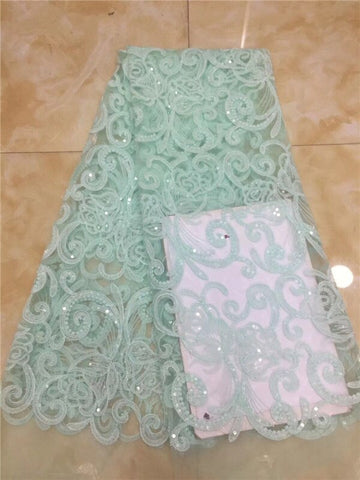 Image of French African Lace Fabric Guipure Sequined Beaded Cotton Cord Tulle Nigerian Tissu Mesh India Lace For Wedding Dress gold green