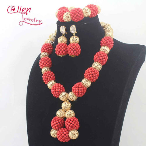 Image of Elegant Women African Coral Beads Necklace Jewelry Set Chunky Coral Pendant Necklace Earrings Set Beads for Wedding E0091
