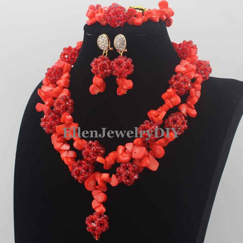 New Marvelous Nigerian Wedding Beads Necklaces Orange Coral Beads Jewelry Set African beads Jewelry Set for Women W13839