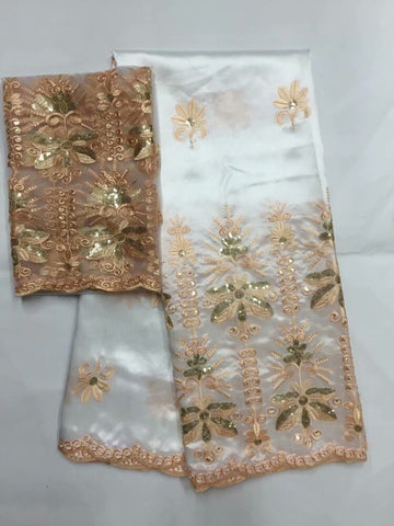Image of 2019 African George Lace Fabric With Blouse Indian Peach French sequin Net Lace Fabric For Nigeria Wedding Dress Silk Lace 5+2