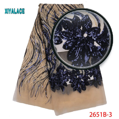 Image of Weeding Sequins Tulle Lace Gold African Lace Fabric High Quality Nigerian French Party lace fabric for tulle lace fabric 2651b