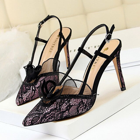 Image of Women High Heel Shoes Lace Flower Women Sandals New Buckle Women Pumps Summer Sexy Party Shoes Women's Shoes Black Stiletto