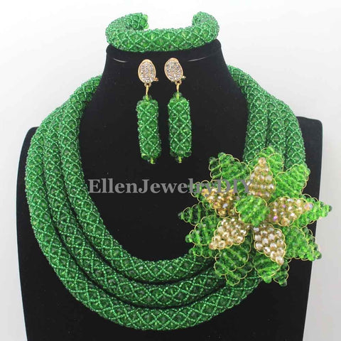Luxury African Beads Jewelry Set Flower Pendant Necklace Coral Nigerian wedding beads Bridal Jewelry Set for Women W13291
