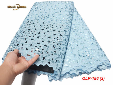 African Organza Lace Fabric 2019 High Quality Hand cut Double Organza Mesh Lace With Sequins Net lace dresses  OLP-186