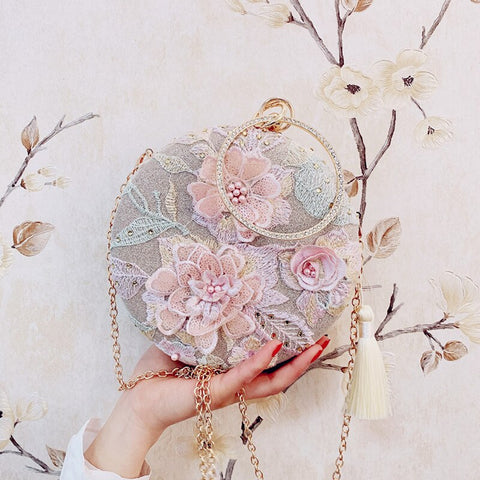 Image of Women Handmade Elegant Round Evening Bag Lady Embroidery Flower Vintage Bridal Wedding Purse and handbag for Women 2019