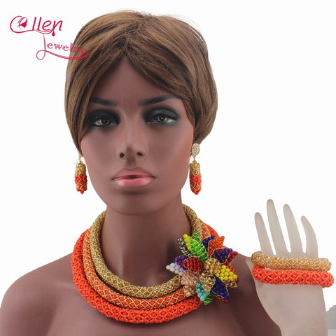 Image of Luxury African Beads Jewelry Set Flower Pendant Necklace Coral Nigerian wedding beads Bridal Jewelry Set for Women W13291