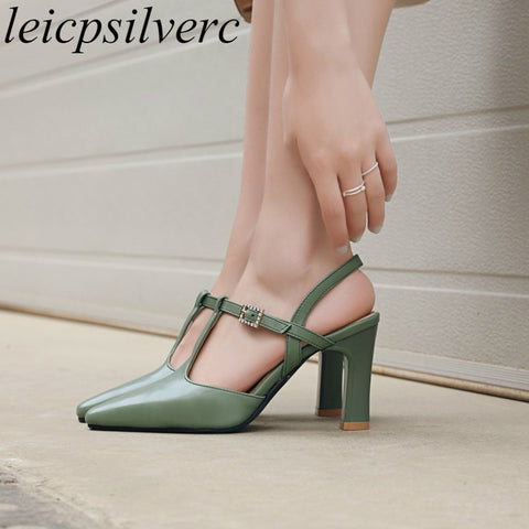 Women Sandals Beach Shoe High Heel Pu Square Toe Bling Buckle 2018 Summer New Sexy Fashion Casual Dress Black Yellow Green Beige