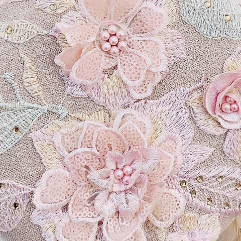 Women Handmade Elegant Round Evening Bag Lady Embroidery Flower Vintage Bridal Wedding Purse and handbag for Women 2019
