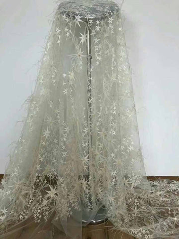 Image of African High Quality Feather lace tassel Fabric handmade,2018 NEW French Voile beads Lace Fabric for wedding dresses