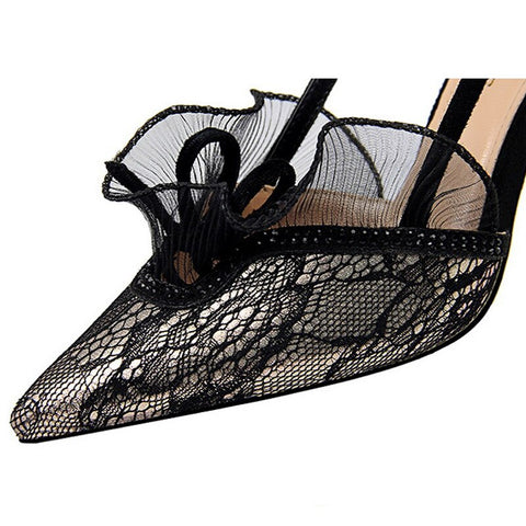 Women High Heel Shoes Lace Flower Women Sandals New Buckle Women Pumps Summer Sexy Party Shoes Women's Shoes Black Stiletto