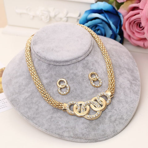Image of New Indian Jewelry Sets Bridal Wedding Big Crystal Dubai Gold Jewelry Sets for Women Necklace Earrings Bracelet Ring Set