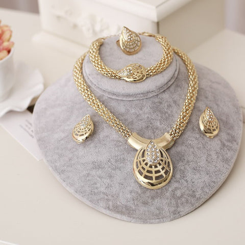New Indian Jewelry Sets Bridal Wedding Big Crystal Dubai Gold Jewelry Sets for Women Necklace Earrings Bracelet Ring Set