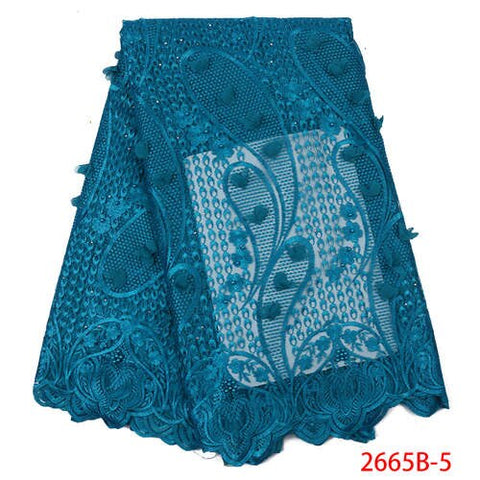 Image of Royal Blue 3D Flowers Lace with Beads/Stones Top Selling African French Tulle Mesh Net Lace Fabric for Wedding Dress APW2665B-3
