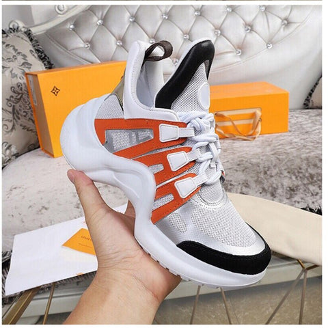 Brand Design Sneakers for Women Mesh Breathable Lace Up Sport Shoes Women's Leather Vulcanize Shoes 2020 Street Arched Sneakers