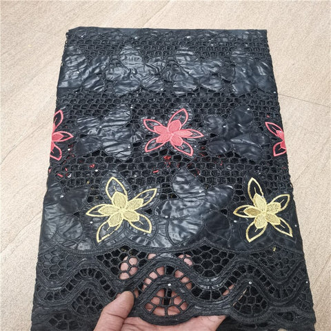 African bazin riche fabric with brode Latest fashion embroidery bazin lace fabric with net lace 2.5 yards HL062702