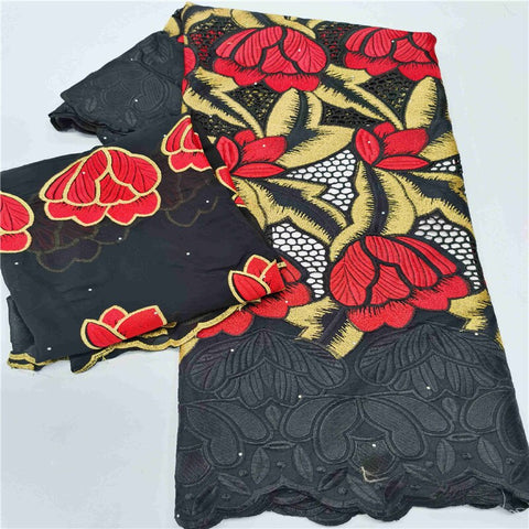 7 Yard With Scarf Swiss Lace Fabric Heavy Beaded Embroidery African 100% Cotton Fabrics Swiss Voile Lace Popular Dubai Style HL1