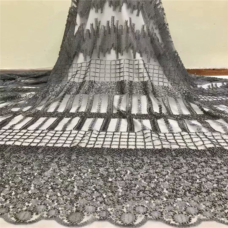 Handmade Pearls Lace Fabric, Newest High Quality African Laces, 3D Applique Lace Fabric Black H1147