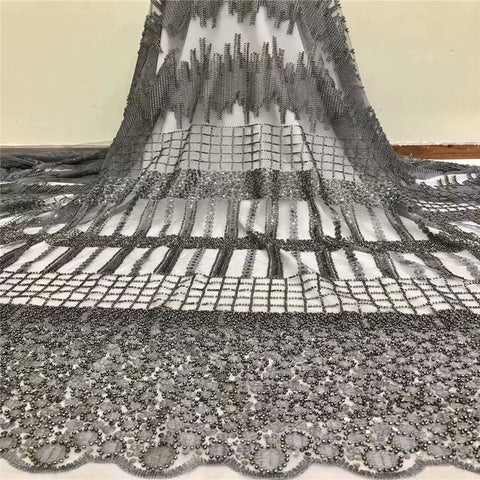 Image of Handmade Pearls Lace Fabric, Newest High Quality African Laces, 3D Applique Lace Fabric Black H1147