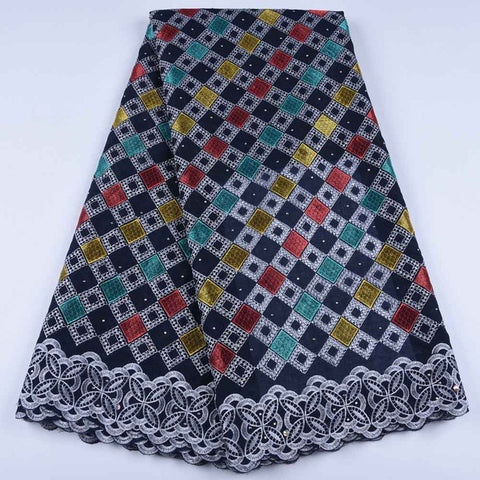 Image of HaoLin African Dry Lace Fabric Swiss Voile Lace Fabric With Stones Soft Embroidery Voile Dry Lace Materials In Switzerland
