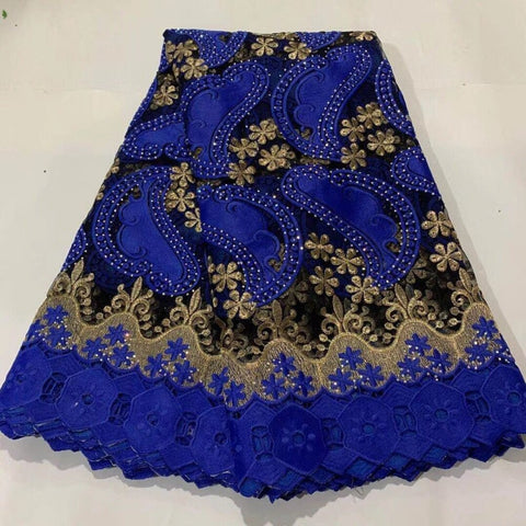 Image of 2020 Latest French Tulle Lace Fabric High Quality Europe And American Fashion african Guipure Cord Fabric With Beads Stone