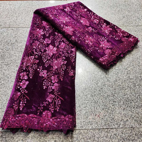 Purple Velvet Lace Fabric Embroidery nigerian Lace Fabric 2021 red/gold High Quality Lace Wedding Sequin African lace Fabric