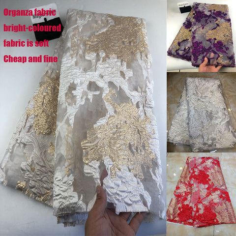 African Lace Fabric Embroidered Nigerian Organza Guipure Lace for Wedding High Quality French Tulle Lace Fabric   COP-0013