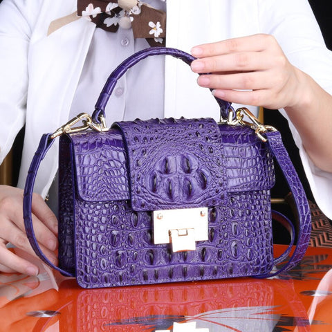 Image of Genuine Leather Woman Beach Bag Crocodile Small Square Package Single Fashion Shoulder Portable Oblique Satchel free shipping