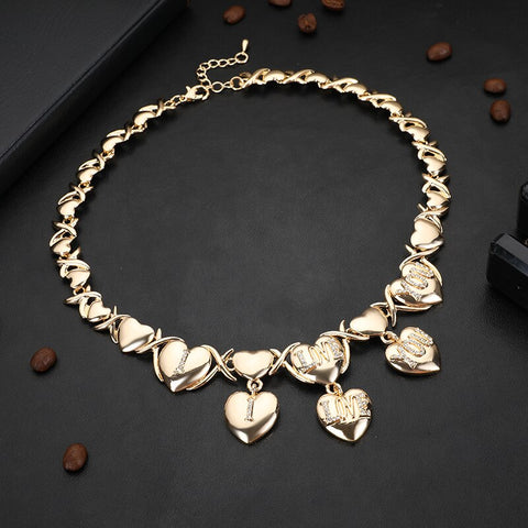 Image of Dubai gold jewelry sets for women wedding gifts Africa Heart shape Necklace ring earrings bracelet set Nigeria jewellery